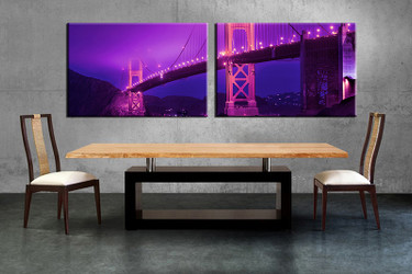 2 piece multi panel canvas, dining room canvas photography, purple city wall art, city artwork
