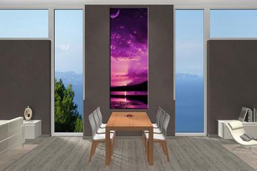 1 piece large canvas, dining room canvas wall art, ocean purple artwork, ocean huge pictures, ocean art,