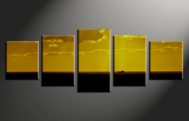 5 piece photo canvas, home decor artwork, ocean yellow multi panel canvas, ocean canvas photography