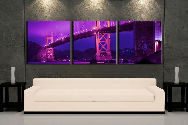 3 piece wall art, multi panel art, purple city large canvas, city huge pictures, living room photo canvas