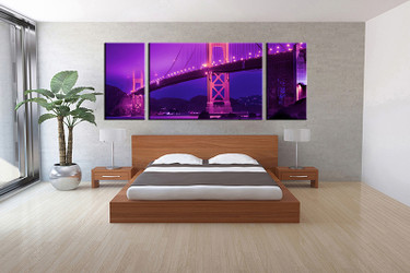 3 piece canvas print, bedroom canvas photography, bridge city purple pictures, city canvas art print, city wall art