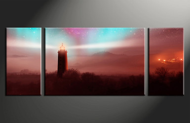 3 piece canvas print, home decor artwork, brown city photo canvas, light house canvas photography, city art