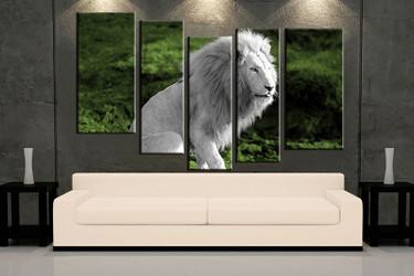 living room art, 5  piece canvas wall art, wildlife decor, wildlife artwork, lion large canvas