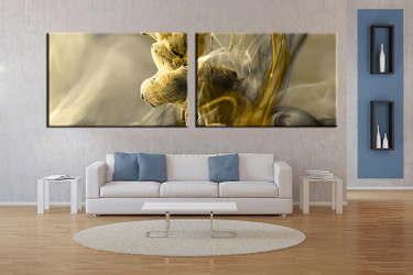 living room wall art,2 piece wall art, modern multi panel art, modern yellow large pictures, modern photo canvas