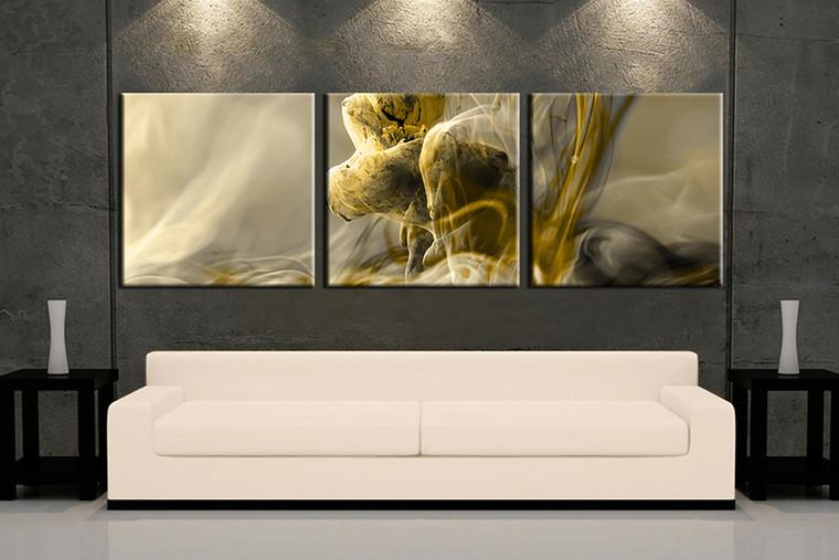 3 piece wall art, yellow modern multi panel art, modern artwork, modern huge large pictures, living room photo canvas