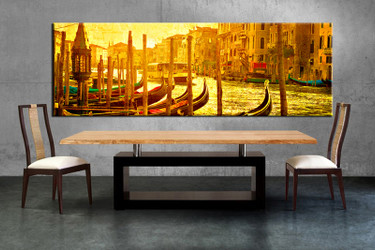 1 piece canvas wall art, yellow city canvas print, city art, dining room canvas photography