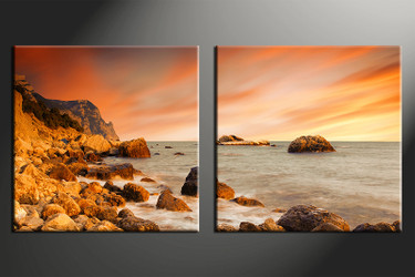 2 piece photo canvas, home decor artwork, Ocean orange multi panel canvas, Ocean canvas photography