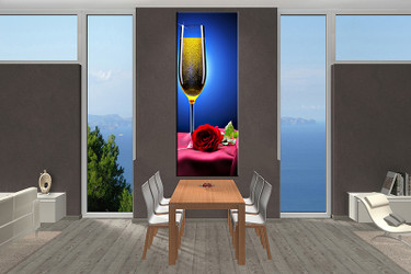 1 piece canvas wall art, Wine canvas print, blue Wine art, dining room canvas photography