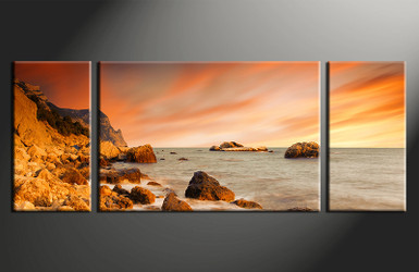 3 piece canvas wall art, home decor art, Ocean canvas art print, Ocean pictures, orange sky huge pictures