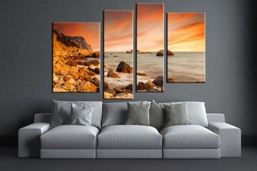 4 piece huge pictures, living room multi panel canvas, Ocean canvas art prints, Ocean artwork, Ocean decor