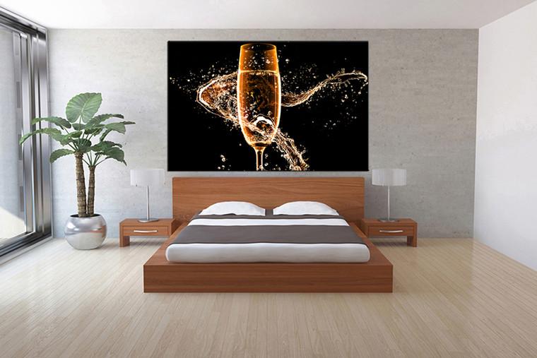 1 piece canvas wall art, bedroom art print, Wine large canvas, Wine multi panel canvas