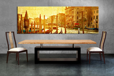 1 piece canvas wall art, city canvas print, yellow city art, dining room canvas photography