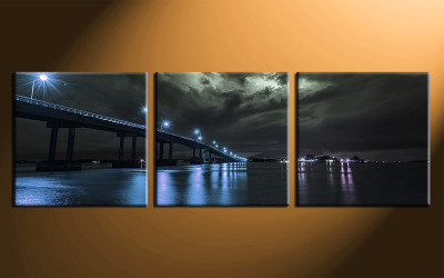 home decor, 3 piece canvas art prints, blue city photo canvas, city canvas photography, bridge city large pictures