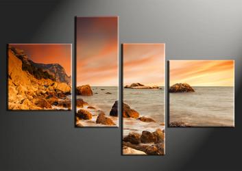 4 piece canvas wall art, home decor art, ocean canvas art print, ocean pictures, orange sky huge pictures