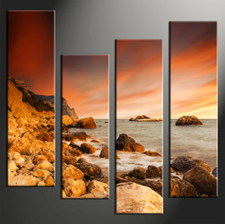 4 piece photo canvas, home decor artwork, ocean yellow multi panel canvas, ocean canvas photography