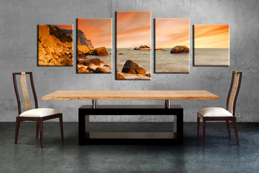 5 piece canvas wall art, ocean canvas print, orange ocean art, dining room canvas photography