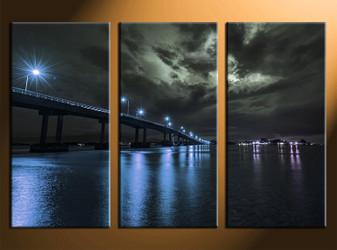 home decor, 3 piece canvas art prints, blue city photo canvas, city canvas photography, bridge city large pictures