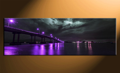 1 piece photo canvas, home decor artwork, city purple multi panel canvas, bridge city canvas photography
