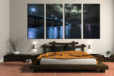 4 piece canvas wall art, bedroom art print, blue city large canvas, city multi panel canvas