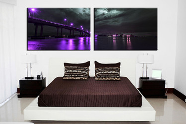 bedroom wall art, 2 piece multi panel art, purple city wall art, city artwork, bridge city artwork
