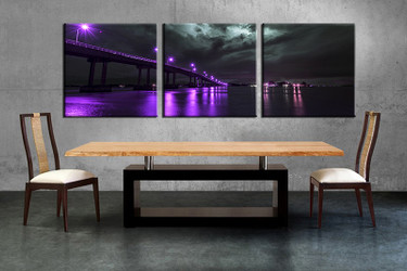 3 piece canvas wall, city art, dining room pictures, purple city large pictures, city bridge artwork