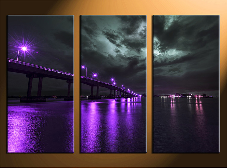 3 piece purple art bridge city multi panel canvas. Black Bedroom Furniture Sets. Home Design Ideas