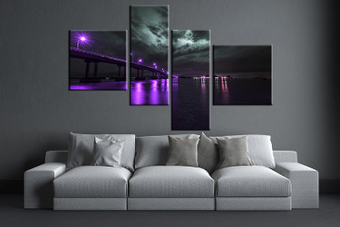 4 piece huge pictures, living room multi panel canvas, purple city canvas art prints, city artwork, bridge city decor