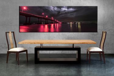 1 piece multi panel canvas, dining room canvas photography, red city wall art, bridge city artwork