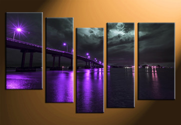5 piece canvas print, home decor artwork, purple city photo canvas, city canvas photography, bridge city art