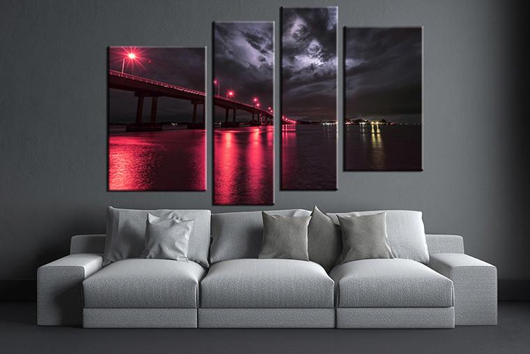 4 piece canvas wall art, city artwork, city bridge wall art, red city pictures, living room decor