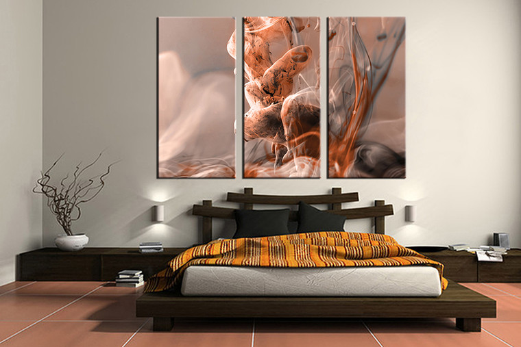 bedroom wall art, 3 piece multi panel art, modern wall art, modern brown artwork, modern artwork