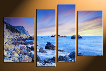 4 piece photo canvas, home decor artwork, ocean blue multi panel canvas, ocean canvas photography