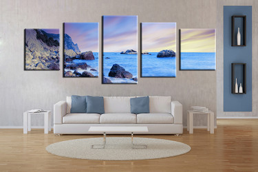 5 piece wall art, living room art, blue ocean multi panel art, ocean canvas print, ocean huge pictures