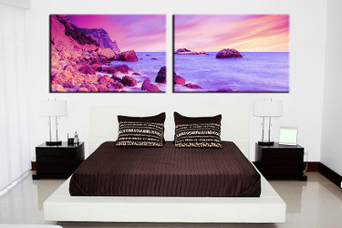 bedroom wall art, 2 piece multi panel art, ocean wall art, ocean artwork, ocean artwork