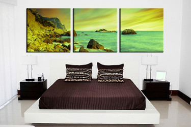 3 piece canvas wall art, bedroom ocean artwork, ocean pictures, green canvas print, ocean artwork