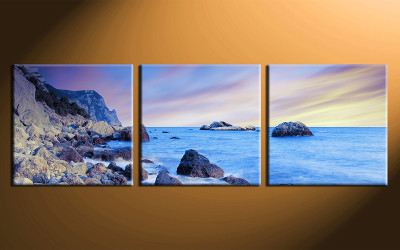 3 piece canvas wall art, home decor art, ocean canvas art print, ocean pictures, blue sky huge pictures