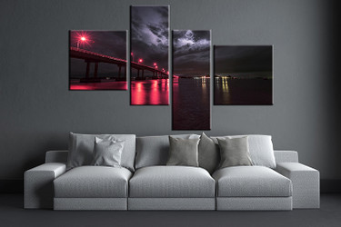 4 piece wall art, living room art, red city multi panel art, city canvas print, city huge pictures