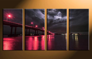 4 piece canvas photography, home decor art, red city huge pictures, city wall decor