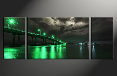 home decor, 3 piece canvas art prints, green city photo canvas, city canvas print, city large canvas