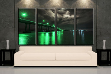 living room wall art, 4 piece wall art, city green multi panel art, city large pictures, bridge city photo canvas