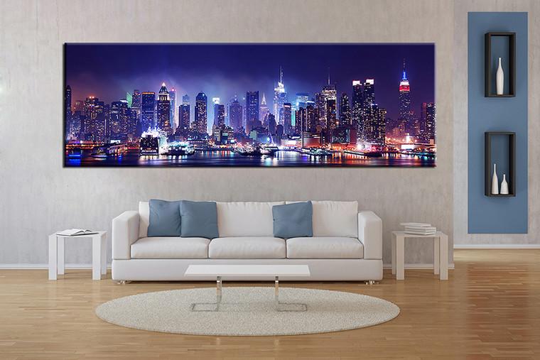 1 piece canvas wall art, blue city artwork, city wall art, city pictures, living room decor