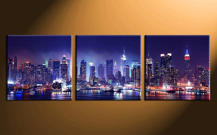 home decor art, 3 piece canvas art prints, city blue canvas print, city group canvas, city pictures
