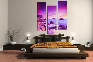 3 piece canvas print, bedroom canvas photography, ocean purple pictures, ocean canvas art print, ocean wall art