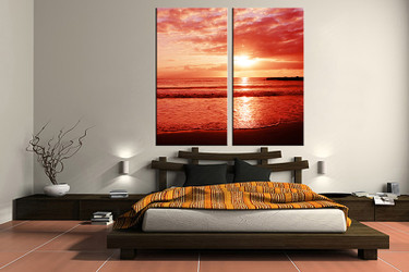 2 piece canvas wall art, bedroom ocean artwork, ocean pictures, sunset canvas print, ocean artwork