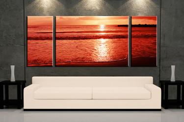living room art, 3 piece canvas wall art, ocean decor, ocean artwork, beach large canvas