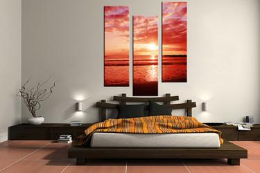 3 piece canvas wall art, bedroom ocean artwork, ocean pictures, sunrise canvas print, ocean artwork