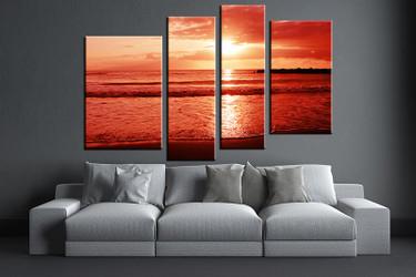 living room art, 4 piece canvas wall art, ocean decor, ocean artwork, beach large canvas