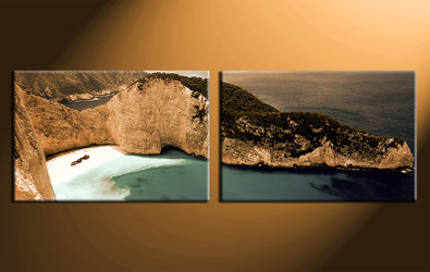 2 piece canvas photography, home decor art, ocean brown canvas art print, ocean huge pictures