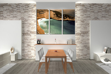 3 piece large canvas, dining room wall art,ocean brown pictures, ocean canvas photography
