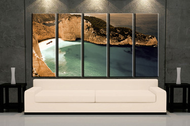 5 piece huge pictures, living room multi panel canvas, ocean brown canvas art prints, ocean artwork, ocean decor